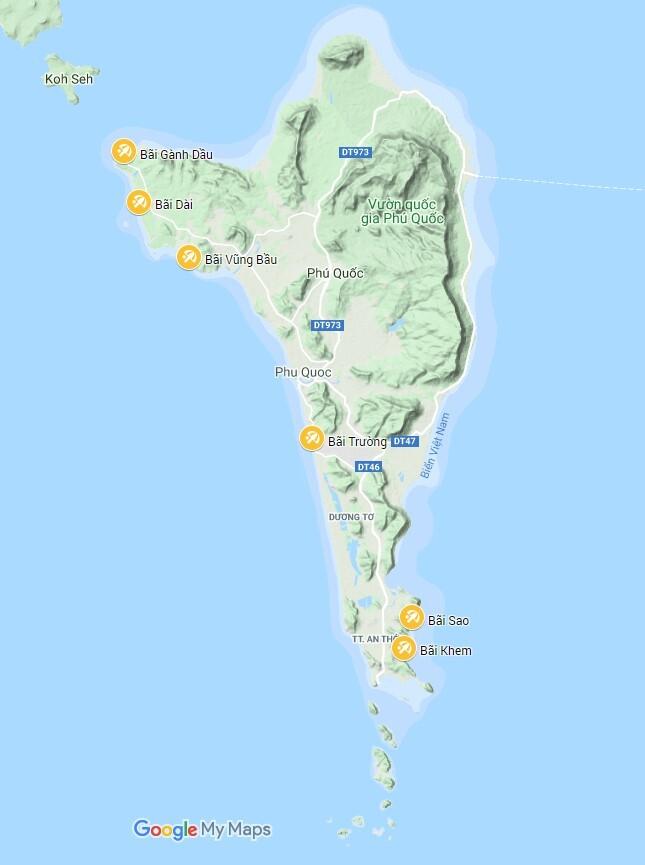 Bản đồ vị trí các bãi biển trên đảo